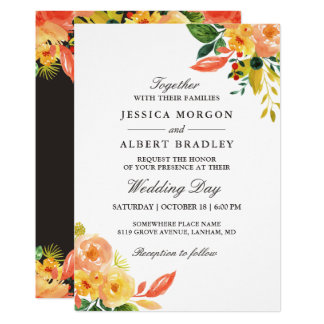 Rustic Autumn Peach Watercolor Floral Fall Wedding Card