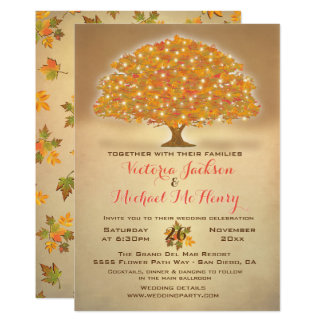 Rustic Autumn Wedding with twinkle lights Card