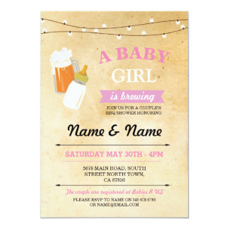 Rustic Baby Shower Girl Brewing Pink BBQ Invite