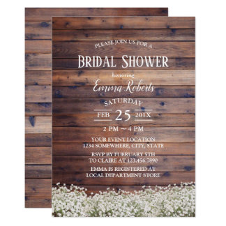 Rustic Baby's Breath Floral Barn Bridal Shower Card