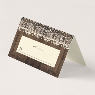 Rustic Barn Wood and Lace Place Cards