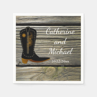 Rustic Barn Wood Country Wedding Cowboy Boot Paper Napkins