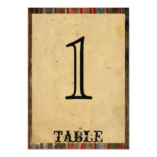 Rustic Barn Wood Graffiti Anniversary Table Number Card