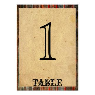 Rustic Barn Wood Graffiti Anniversary Table Number Announcement