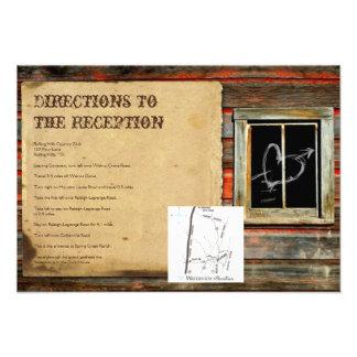 Rustic Barn Wood Graffiti Heart Wedding Directions Invitation