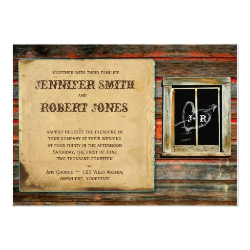 Rustic Barn Wood Graffiti Heart Window Invitation