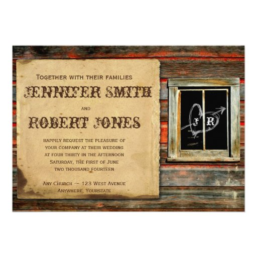 Rustic Barn Wood Graffiti Heart Window Wedding Invitations