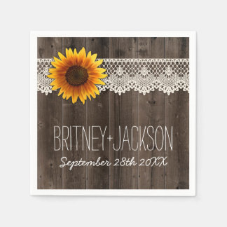Rustic Barn Wood Lace Sunflower Wedding Napkins Disposable Napkin