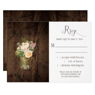 Rustic Barn Wood Mason Jar Floral RSVP Card