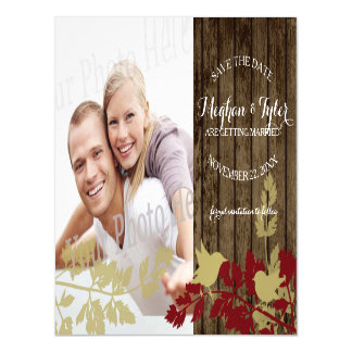 Rustic Barn Wood Save the Date Photo Magnetic Invitations