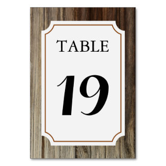 Rustic Barn Wood Table Number Card