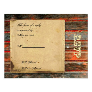 Rustic Barn Wood with Graffiti Heart Response Card Personalized Announcement
