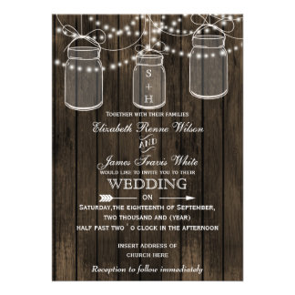 Rustic Barnwood, mason jar wedding invitations