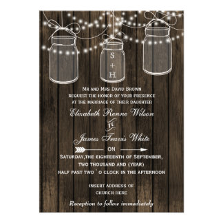 Rustic Barnwood, mason jar wedding invites