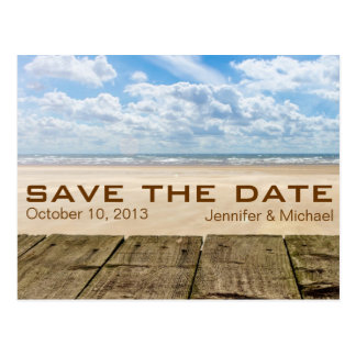 Rustic Beach Summer Save the Date Wedding Postcard