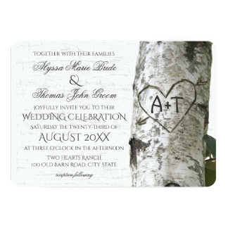 Rustic Birch Tree Wedding with Carved Heart 13 Cm X 18 Cm Invitation Card