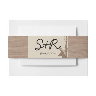 Rustic Birch Trees and Deer Wedding Belly Band Invitation Belly Band