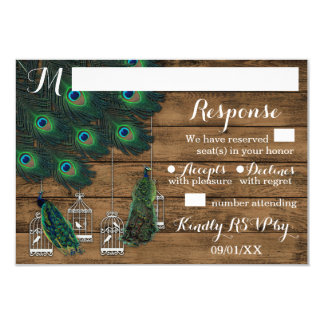 Rustic Birdcage Peacock Feather Wedding RSVP Cards 9 Cm X 13 Cm Invitation Card