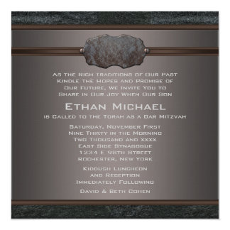Rustic Black Leather Bar Mitzvah 13 Cm X 13 Cm Square Invitation Card