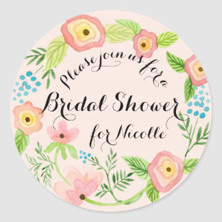 Rustic Blush Granny Chic Hipster Floral Bridal Classic Round Sticker
