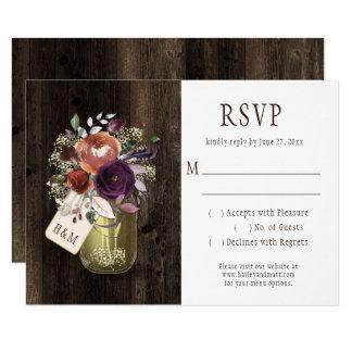 Rustic Boho Barn Wood Mason Jar Purple Floral RSVP Card