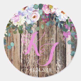 Rustic Boho Chic Floral Wreath Wedding Label