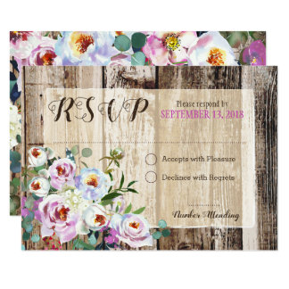 Rustic Boho Chic Peony Floral RSVP Card