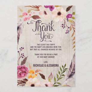 Rustic Boho Floral Baby Shower Thank You Note Card