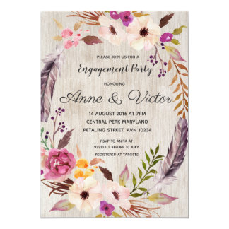 Rustic Boho Floral Engagement Party Invitation