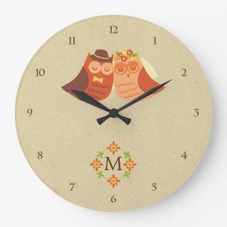 Rustic Boho Lovebird Owl Couple Large Clock