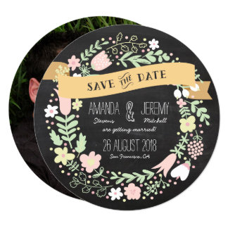 Rustic Boho Wreath Chalkboard Photo Save the Date Card