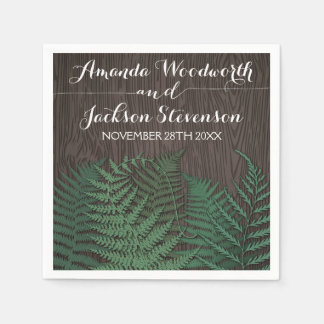 Rustic Botanical Fern Country Wedding Napkins Disposable Napkin