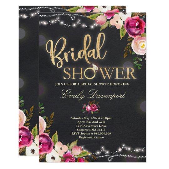 Rustic Bridal Shower Invitation Watercolor Floral