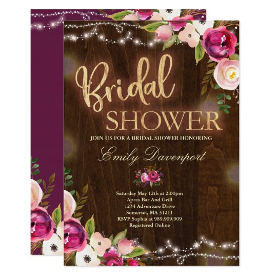 Rustic Bridal Shower Invitation Watercolor Floral