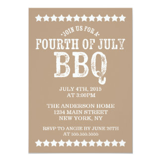 Rustic Brown Beige Vintage 4th of July BBQ Party Card