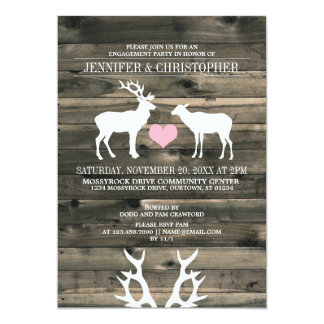 Rustic Buck and Doe Engagement Party Invitation