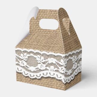 Rustic Burlap and Lace Art Gable Favor Box