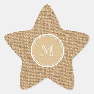 Rustic Burlap Background Monogram Wedding Star Stickers
