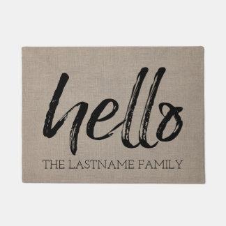 Rustic Burlap - Custom Family Hello Greeting Doormat