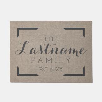 Rustic Burlap - Custom Family or Wedding Sign Doormat