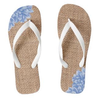 Rustic Burlap Dahlia Flip Flops