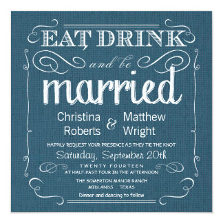Rustic Burlap Denim Blue Wedding Invitations
