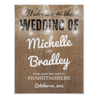 Rustic Burlap Eat Drink and be Married Wedding Poster