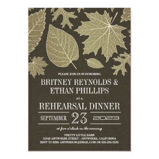 Rustic Burlap Fall Rehearsal Dinner Invitations