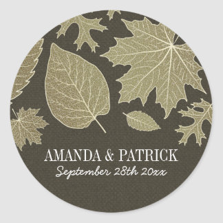 Rustic Burlap Gold Fall Leaves Wedding Favors Classic Round Sticker