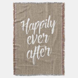 Rustic Burlap Happily Ever After Wedding Throw Blanket