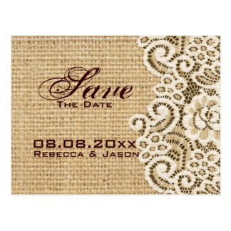 rustic burlap lace country save the date postcard