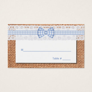 Rustic Burlap & Lace Country Wedding Place Card