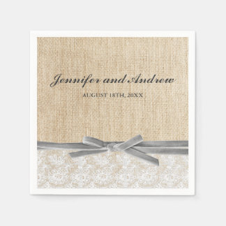 Rustic Burlap Lace Gray Ribbon Wedding Disposable Serviettes
