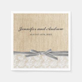 Rustic Burlap Lace Grey Ribbon Wedding Disposable Serviettes